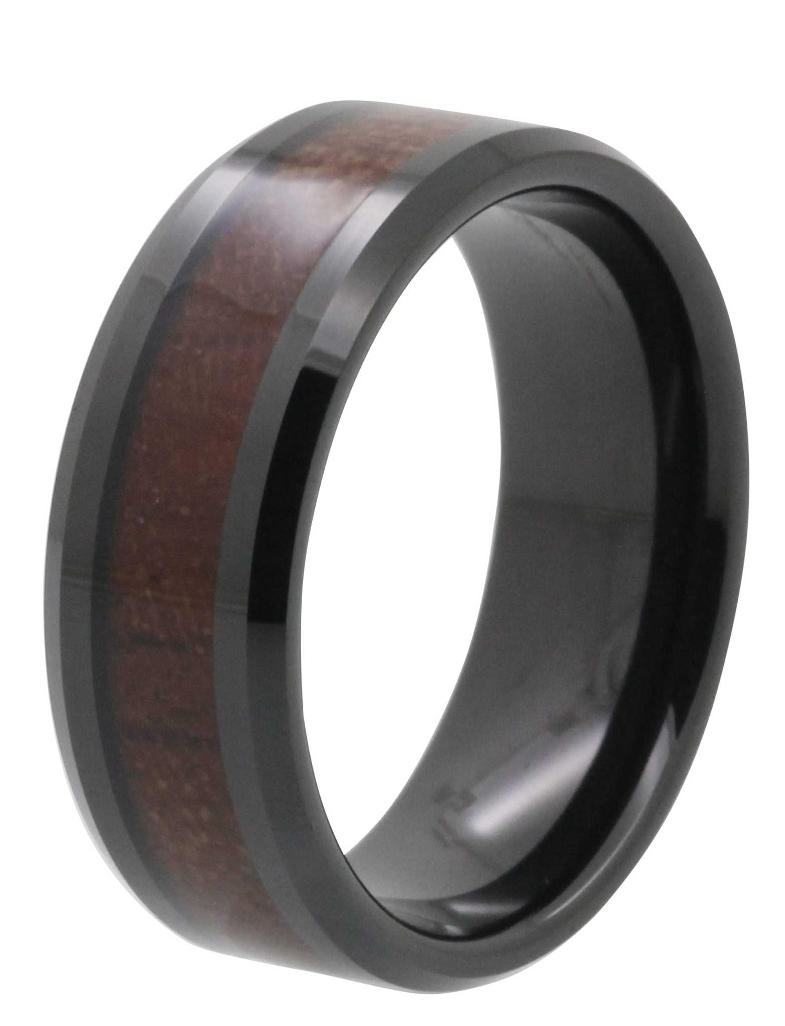 8MM Brown Wood Inlay Black Tungsten Ring