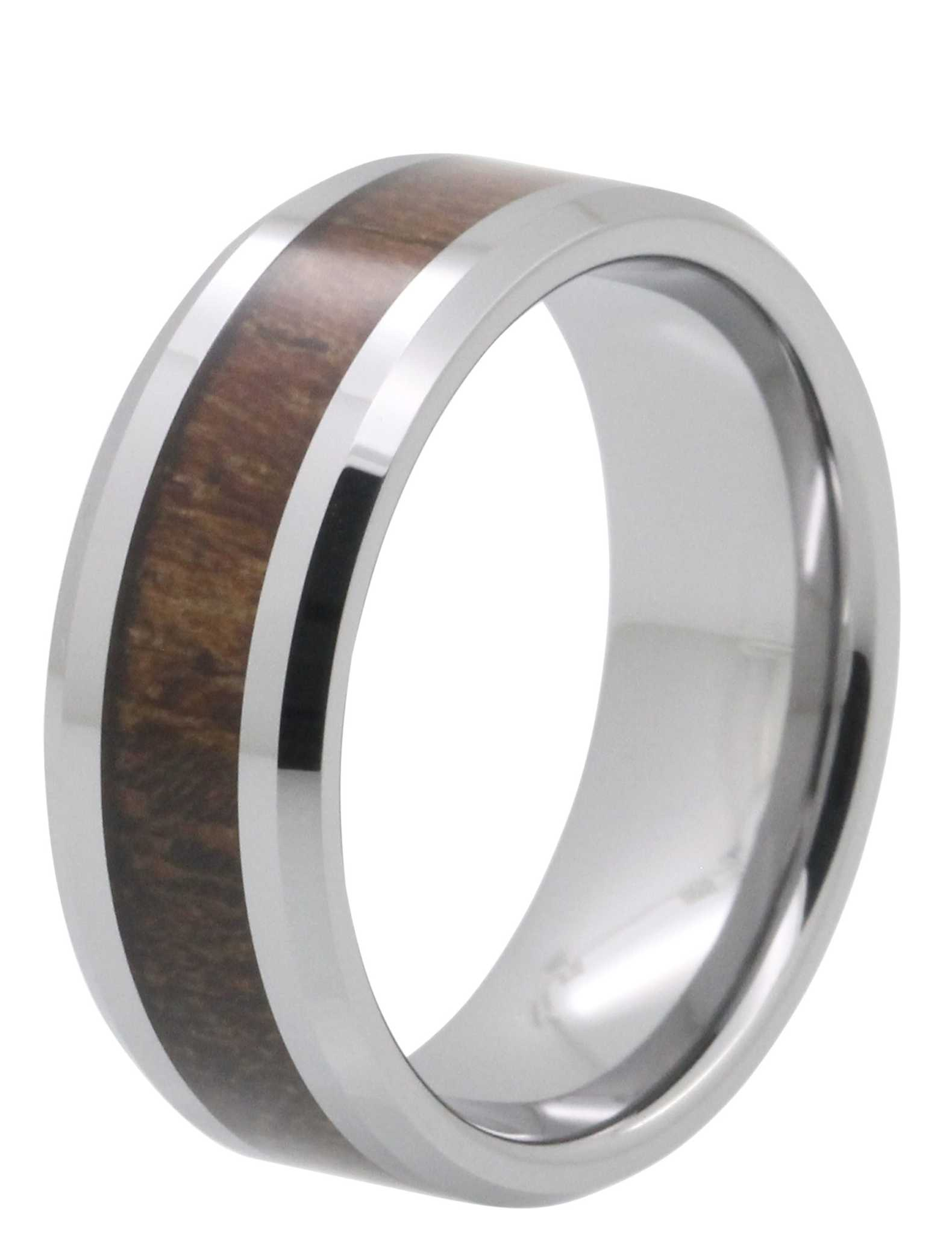 8MM Brown Wood Tungsten Ring
