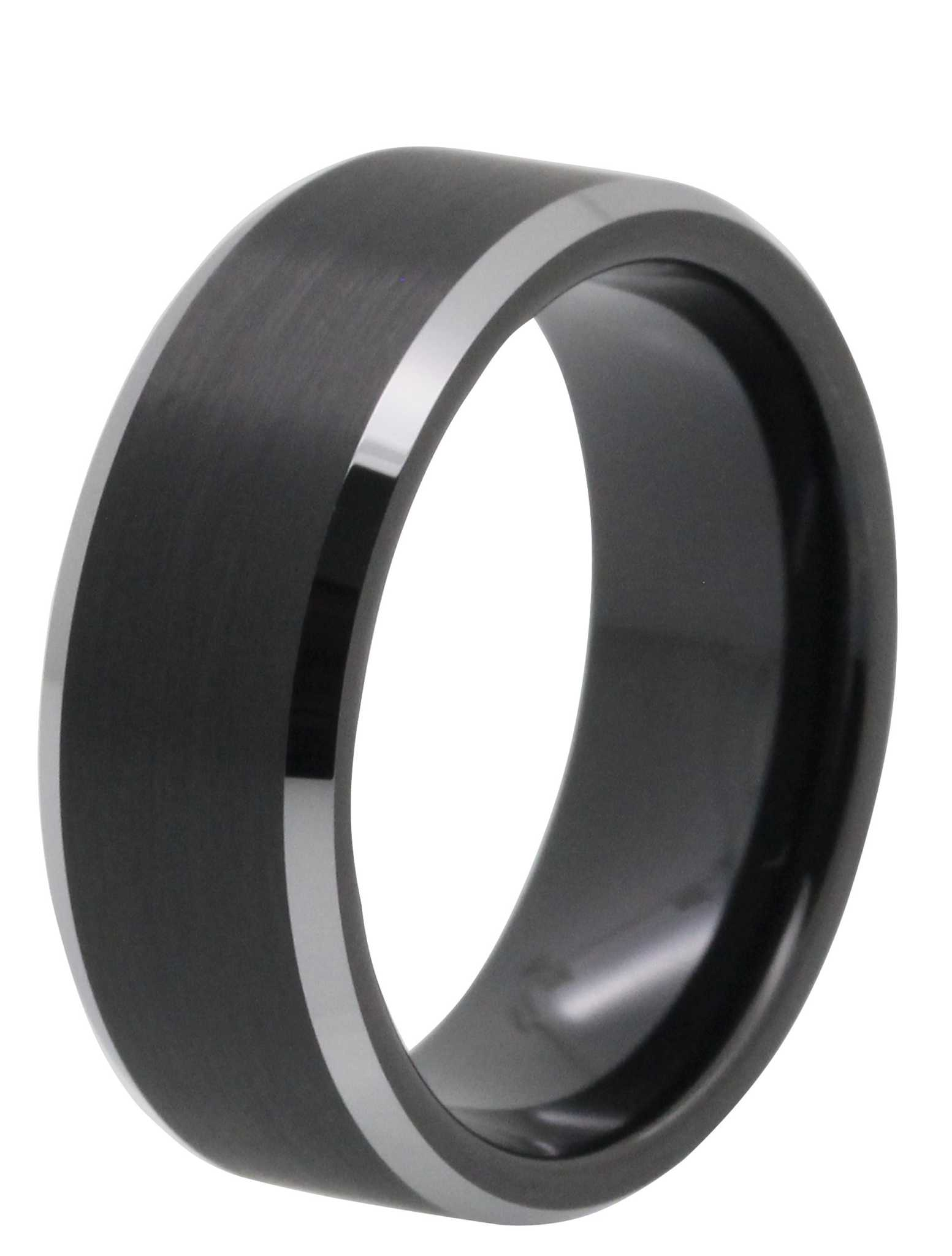 8MM Brushed Black Tungsten Ring