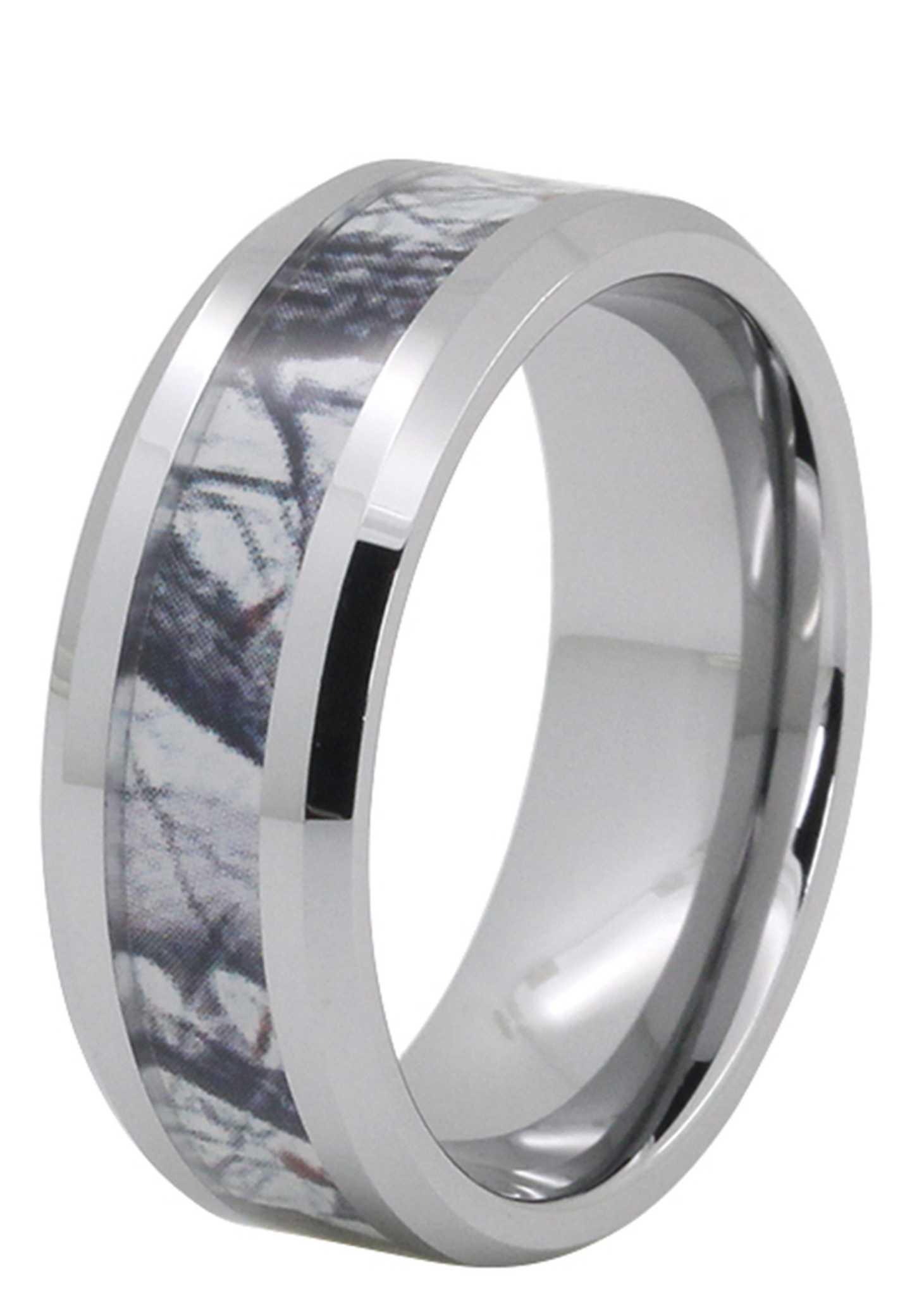 8MM Camo Wood Inlay Tungsten Wedding Band