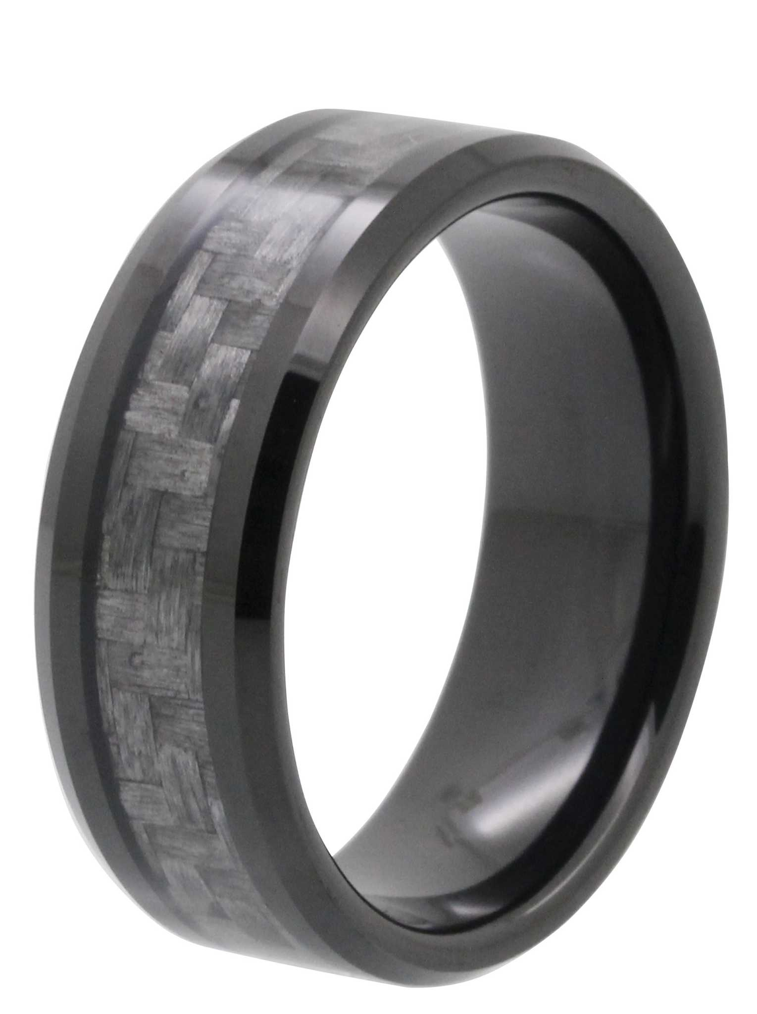 8mm carbon fiber inlay tayloright tungsten wedding band for Carbon fibre wedding ring