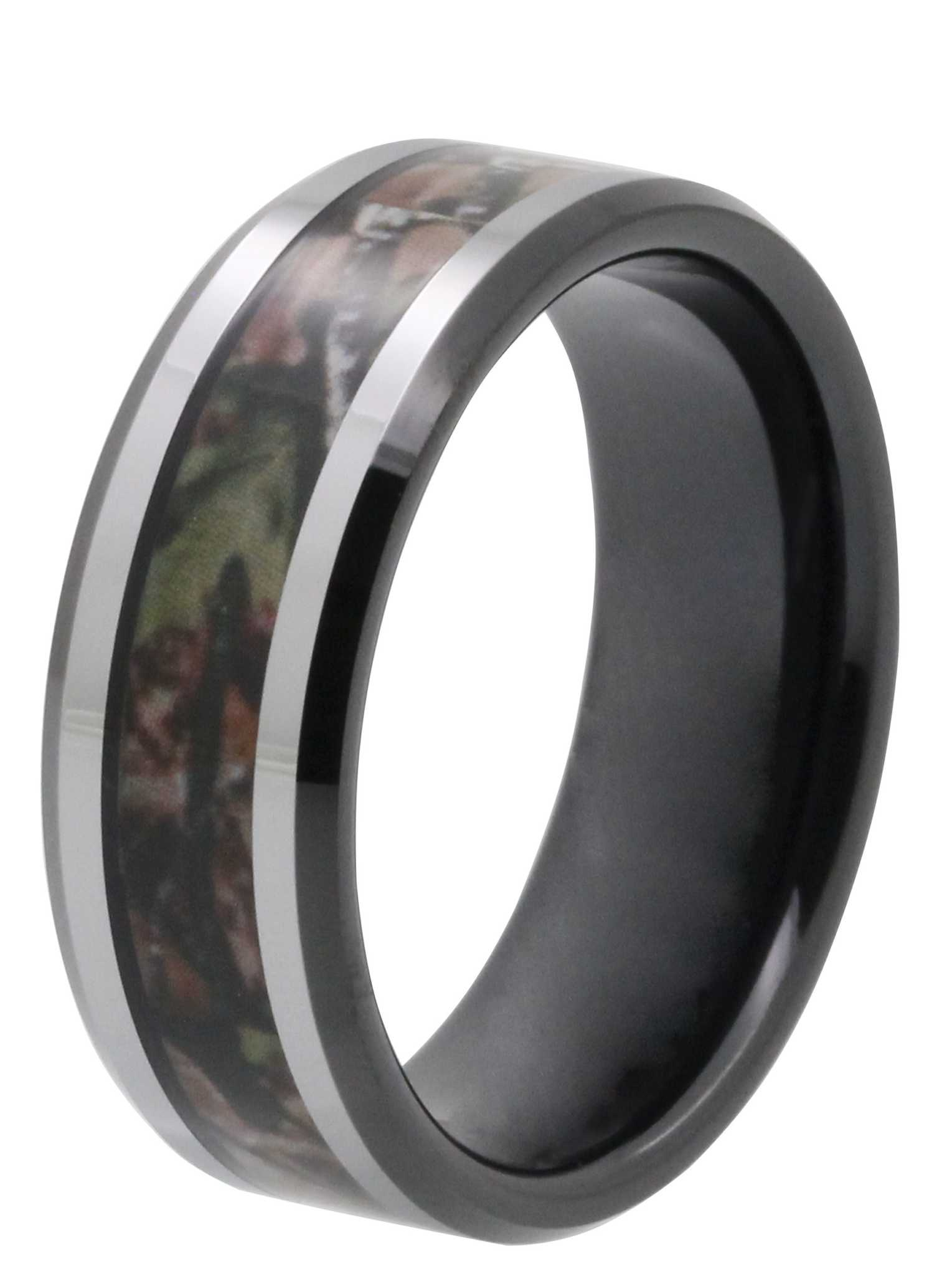 8MM Dark Camo Inlay Tungsten Wedding Band