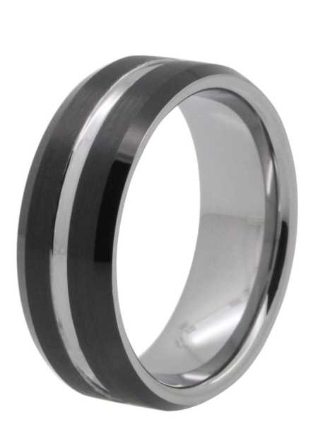 8mm two tone tayloright tungsten ring - Black Wedding Rings For Him