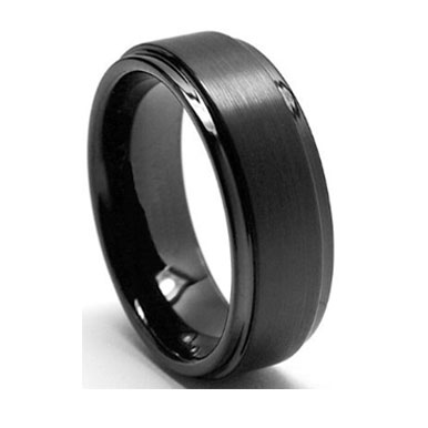 "8MM Black Tungsten Carbide Ring ""Black Jewel"""