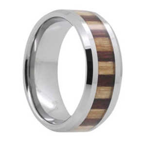 "8MM Bamboo/KOA Wood Tungsten Ring ""Exeter"""