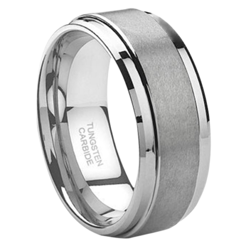 "9MM Brushed Tungsten Ring ""Jewel 9"""