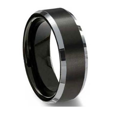 "8MM Black Brushed Tungsten Ring ""Preston"""