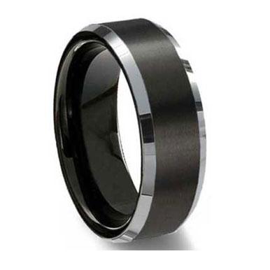 "8MM Black Brushed Tungsten Ring ""Preston"""