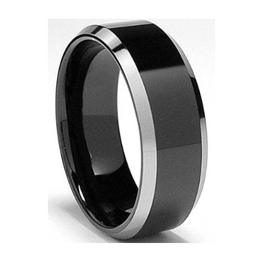"8MM Black Polished Tungsten Ring ""Kingston"""