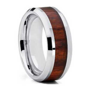 "8MM KOA Wood Tungsten Ring ""Plymouth"""