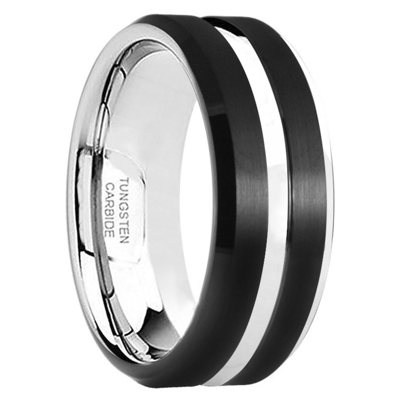 "8MM Black Tungsten Grooved Ring ""Hanover"""