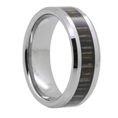 "8MM Ash Wood Inlay Tungsten Wedding Band ""Lichfield"""