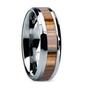 "8MM Zebra Wood Inlay Tungsten Wedding Band ""London"""