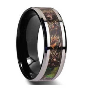 "8MM Camo Inlay Tungsten Wedding Band ""Manchester"""