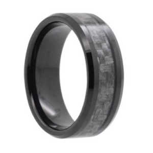 "8MM Carbon Fiber Inlay Black Tungsten Wedding Band  ""Norwich"""