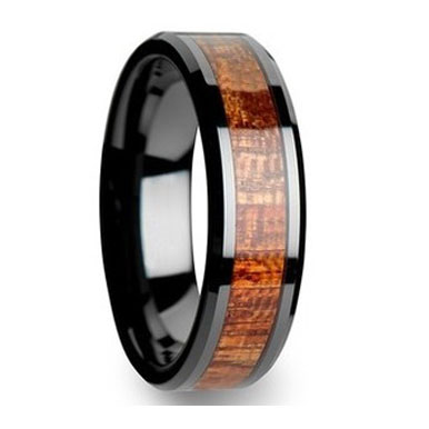 "8MM Bloodwood Inlay Black Tungsten Ring ""Salisbury"""