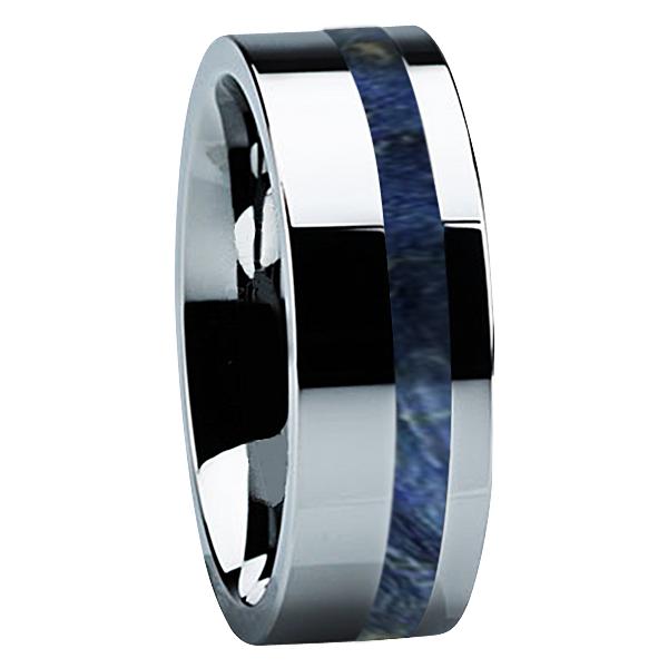 """8 mm Tungsten with Blue Box Elder Wood """"Amarillo"""""""