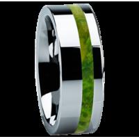 """8 mm Tungsten with Green Box Elder Wood """"Little Rock"""""""