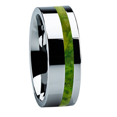 "8 mm Tungsten with Green Box Elder Wood ""Little Rock"""
