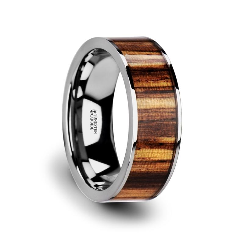 "8 mm Tungsten & Zebra Wood ""Lexington"""