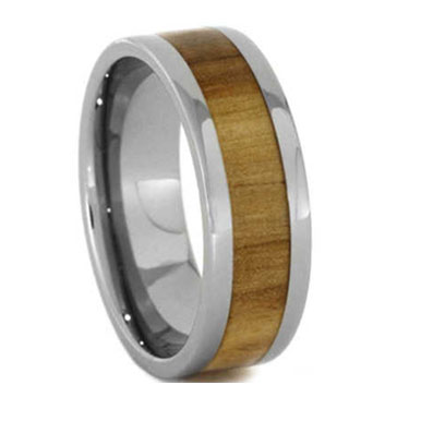 "8MM Aspenwood Inlay Tungsten Ring  ""Derby"""
