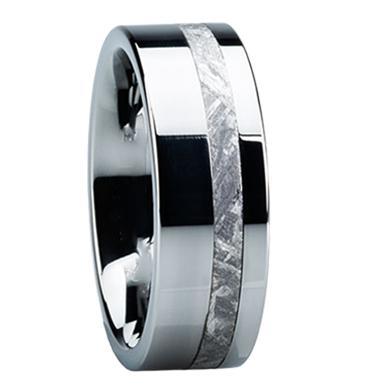 "8 mm Meteorite in Tungsten Ring ""Laredo"""