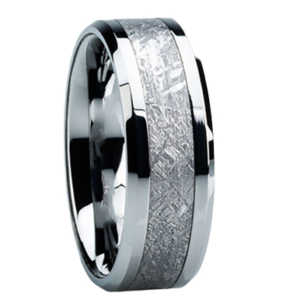 "8 mm Meteorite Inlay Tungsten Ring ""Madison"""