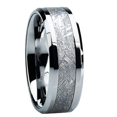 "8 mm Meteorite Inlay Tungsten Ring ""Madison"""