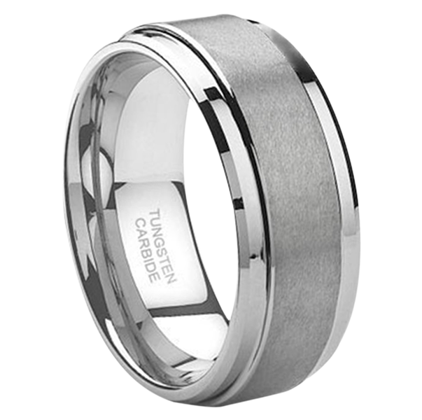 "8 mm Tungsten Wedding Band with Brushed Center  ""Jewel"""