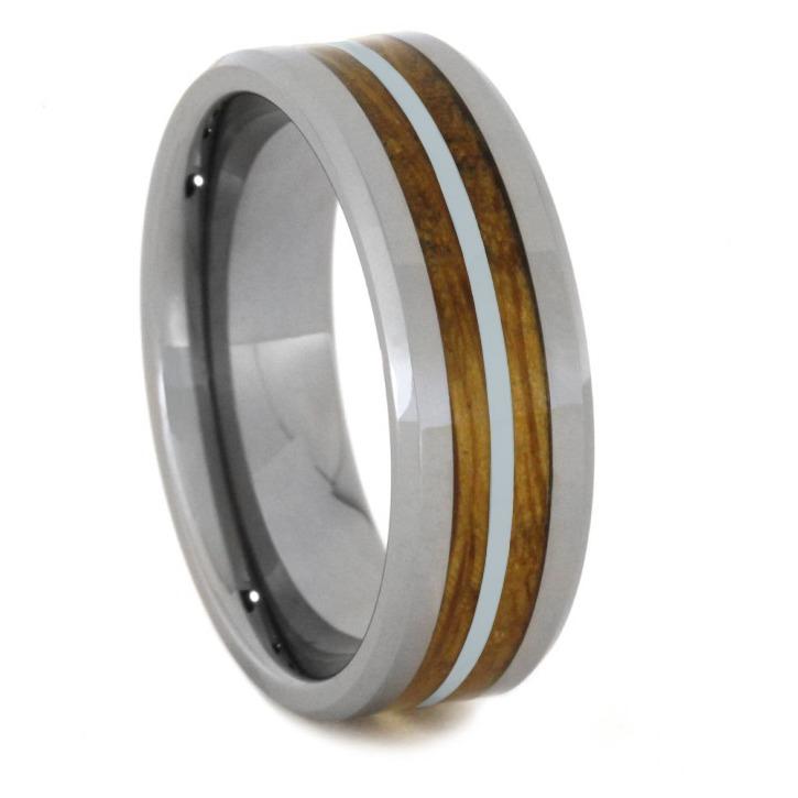 "8 mm Tungsten/Silver Whiskey Barrel Inlay ""Long Beach"""