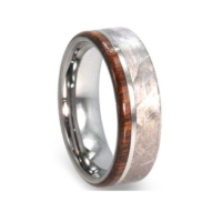 "8 mm Meteorite/Ironwood Tungsten Ring  ""Montgomery"""