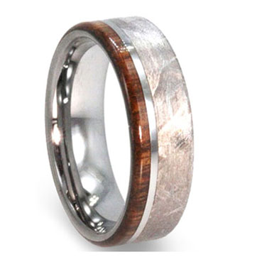 8 Mm Meteorite Ironwood Tungsten Ring Montgomery