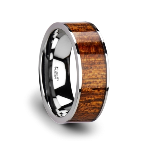 "8 mm Tungsten & Mahogany Wood ""Plano"""