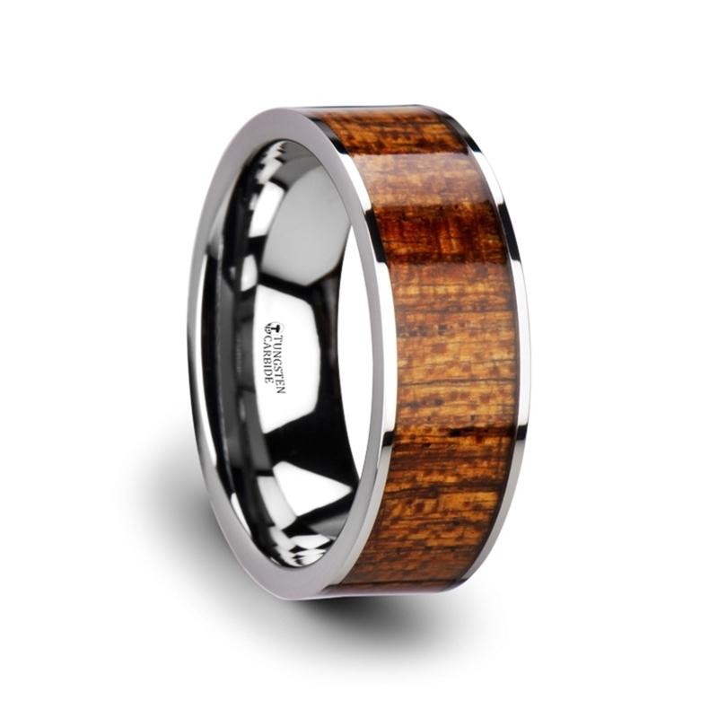 "8 mm Tungsten & Mahogany Wood ""Plano"""