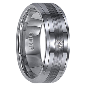 ".04 cwt Diamond Wedding Ring Tungsten ""Charvoire"""