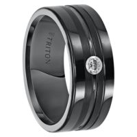 ".08 cwt Diamond Ring Black Tungsten ""Endurance"""