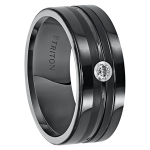 ".08 cwt Diamond Ring Black Tungsten ""Endurance"""