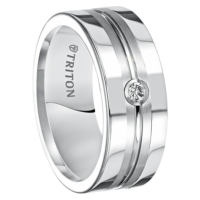 ".08 cwt Diamond White Tungsten Ring ""Zorro"""