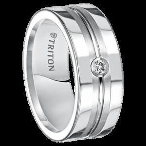 """.08 cwt Diamond White Tungsten Ring """"Zorro"""""""