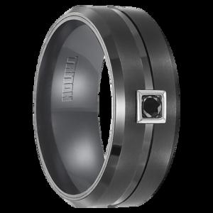 ".10 cwt Black Diamond, Black Tungsten Ring ""Amacor"""