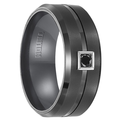 ".10 cwt Black Diamond, Black Tungsten Ring ""Amacor"""