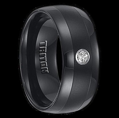 ".10 cwt Diamond Wedding Band Black Tungsten ""Ma Wei"""