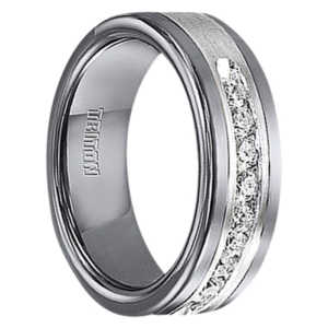 "1/2 cwt Diamond in Sterling Silver/Tungsten Ring ""Athens"""