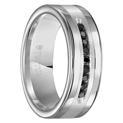 "1/4 cwt Black Diamond Silver/Tungsten Ring ""Modesto"""