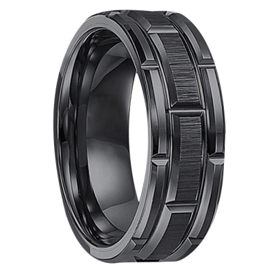 "8 mm Black Tungsten Mens Wedding Bands ""Utopia"""