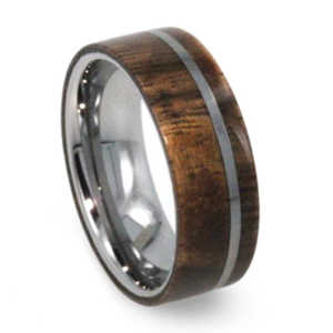 8 mm Mesquite Burl Wood Mens Wedding Rings in Tungsten - T036M