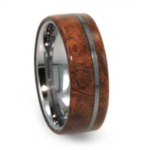 8 mm Ironwood Burl Mens Wedding Bands in Tungsten - T220M