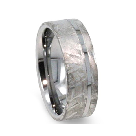 "8 mm Meteorite in Tungsten Ring ""Aurora"""