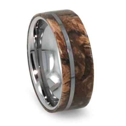 8 Mm Buckeye Burl Wood Mens Wedding Bands In Tungsten T233m