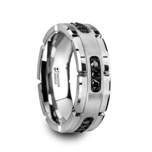 ".27 cwt Tungsten with 9 Black Diamonds  ""Mercury"""